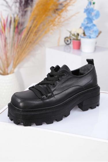 Hakiki Deri Siyah Kadın Topuklu Ayakkabı 212136101