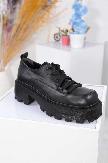 Hakiki Deri Siyah-Siyah Rugan Kadın Topuklu Ayakkabı 212136101