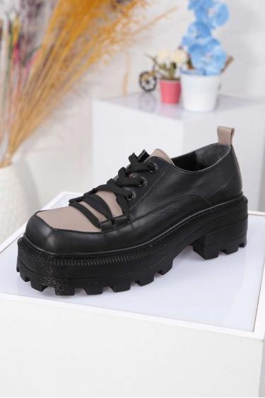 Hakiki Deri Siyah-Vizon Kadın Topuklu Ayakkabı 212136101