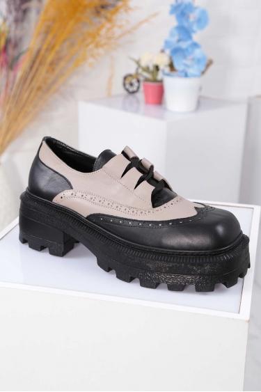 Hakiki Deri Siyah-Vizon Kadın Topuklu Ayakkabı 212136102