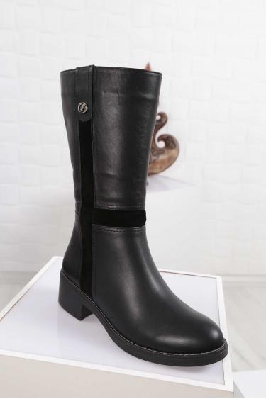 Hakiki Deri Kürklü Siyah-Siyah-Süet Kadın Düz Çizme 212136308
