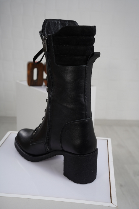 Hakiki Deri Siyah-Siyah-Süet Kadın Düz Çizme 212136310