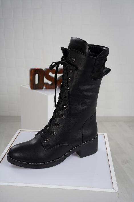 Hakiki Deri Siyah-Siyah-Süet Kadın Düz Çizme 212136311