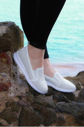 Hakiki Deri Beyaz Kadın Comfort Ayakkabı 161-2017