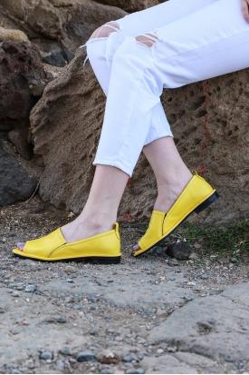 Hakiki Deri Sarı Kadın Burnu Açık Ayakkabı 161-2027