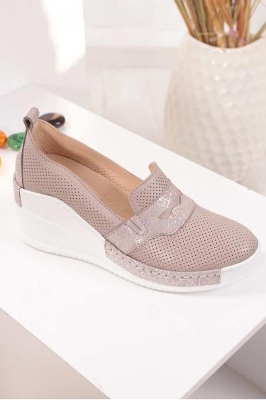 Hakiki Deri Vizon Garni Kadın Platform Ayakkabı 211161112