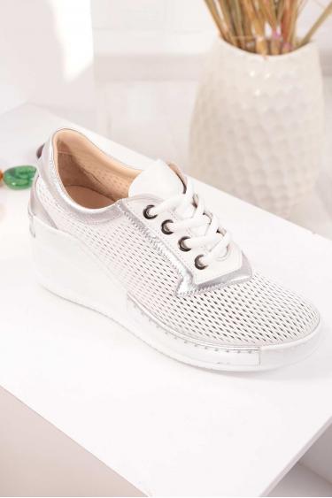 Hakiki Deri Beyaz Gümüş Kadın Platform Ayakkabı 211161113