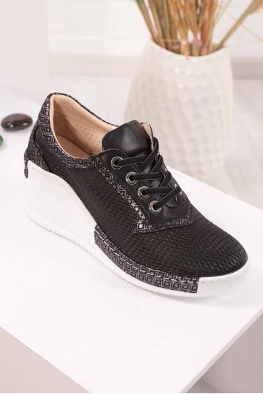 Hakiki Deri Siyah Garni Kadın Platform Ayakkabı 211161113