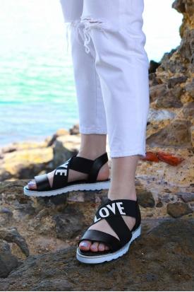 Hakiki Deri Siyah Kadın Düz Sandalet 169-T.001