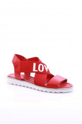 Hakiki Deri Kırmızı Kadın Düz Sandalet 169-T.001