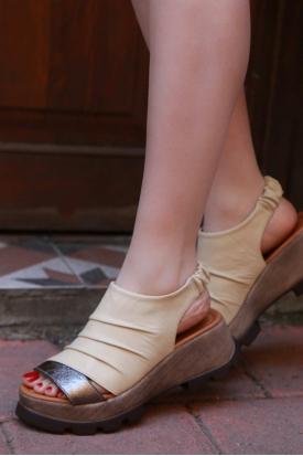 Hakiki Deri Bej-Çelik Kadın Platform Sandalet 170-914