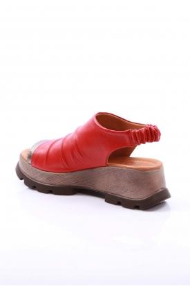 Hakiki Deri Kırmızı-Çelik Kadın Platform Sandalet 170-914