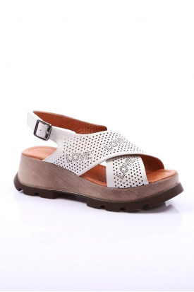 Hakiki Deri Beyaz Kadın Platform Sandalet 170-931