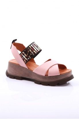 Hakiki Deri Pudra Kadın Platform Sandalet 170-941