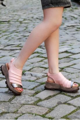 Hakiki Deri Pudra-Çelik Kadın Platform Sandalet 170-914