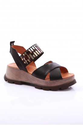 Hakiki Deri Siyah Kadın Platform Sandalet 170-941