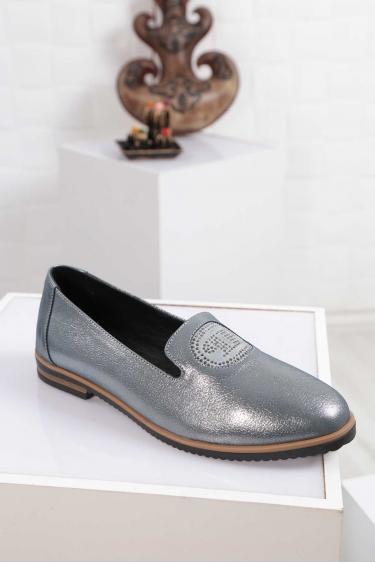 Hakiki Deri Mavi Saten Kadın Babet Ayakkabı 212172101