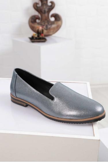 Hakiki Deri Mavi Saten Kadın Babet Ayakkabı 212172102