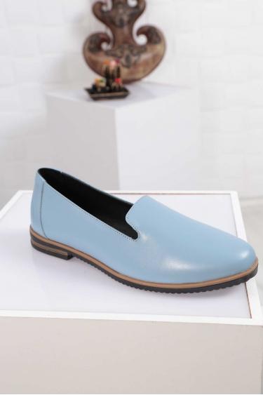 Hakiki Deri Mavi Kadın Babet Ayakkabı 212172102