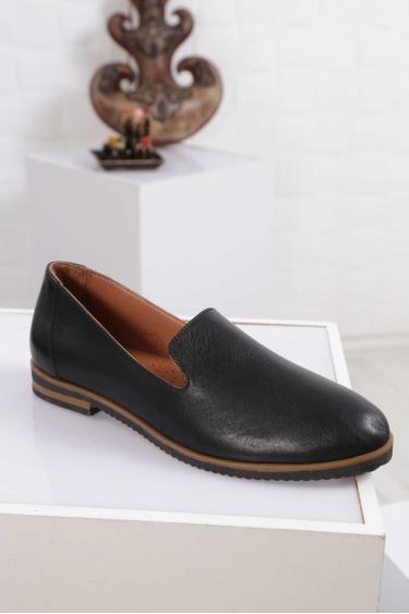 Hakiki Deri Siyah Kadın Babet Ayakkabı 212172102