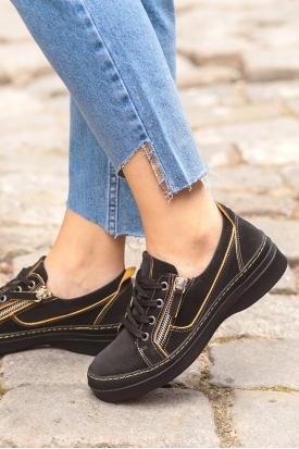 Hakiki Deri Siyah Nubuk-Sarı Dikiş Detaylı Kadın Spor Ayakkabı 202176101
