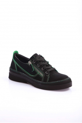 Hakiki Deri Siyah Nubuk-Yeşil Dikiş Detaylı Kadın Spor Ayakkabı 202176101