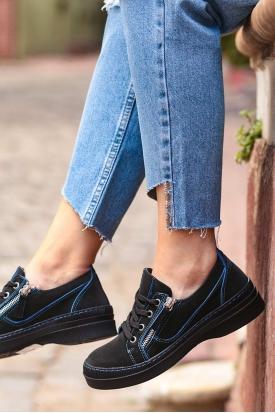 Hakiki Deri Siyah Nubuk-Mavi Dikiş Detaylı Kadın Spor Ayakkabı 202176101