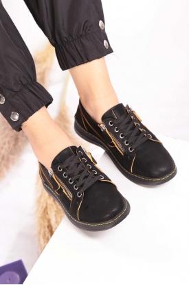 Hakiki Deri Siyah Nubuk-Sarı Dikiş Detaylı Kadın Spor Ayakkabı 202176103