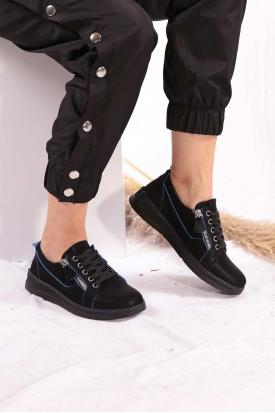 Hakiki Deri Siyah Nubuk-Mavi Dikiş Detaylı Kadın Spor Ayakkabı 202176103