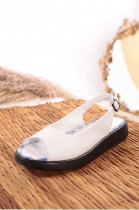 Hakiki Deri Beyaz Kadın Düz Sandalet 211186505