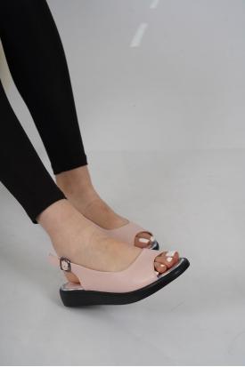 Hakiki Deri Pudra Kadın Düz Sandalet 211186505