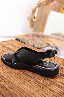 Hakiki Deri Siyah Kadın Düz Sandalet 211186506