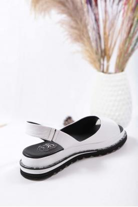 Hakiki Deri Beyaz Kadın Düz Sandalet 211194501