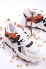 Beyaz-Turuncu Kadın Sneaker Ayakkabı 202201101