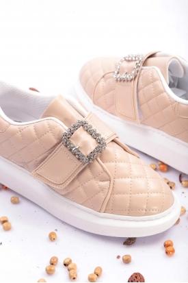 Bej Kadın Sneaker Ayakkabı 202201105