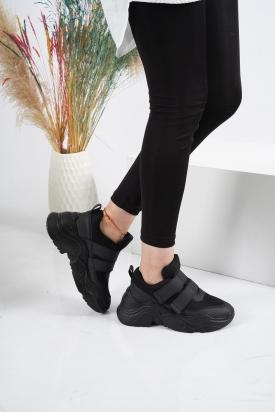 Cırtlı Siyah Kadın Sneaker Ayakkabı 202201103