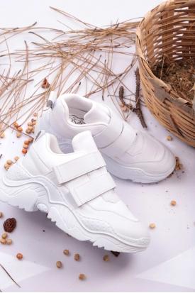 Cırtlı Beyaz Kadın Sneaker Ayakkabı 202201103