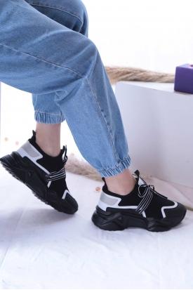 Siyah-Beyaz Kadın Sneaker Ayakkabı 202201103