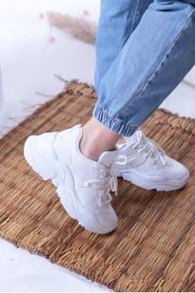 Mat Beyaz Kadın Sneaker Ayakkabı 202201103