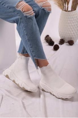 Beyaz Triko Kadın Sneaker Ayakkabı 202201116