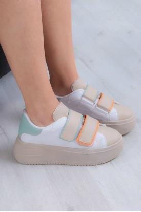 Bej-Beyaz-Mint-Oranj Kadın Sneaker Ayakkabı 211201101
