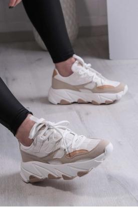 Beyaz-Bej Kadın Sneaker Ayakkabı 211201102