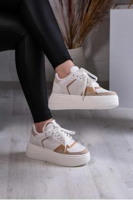 Beyaz-Bej Kadın Sneaker Ayakkabı 211201103