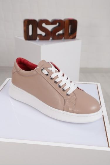 Hakiki Deri Bordo Kadın Sneaker Ayakkabı 221204102