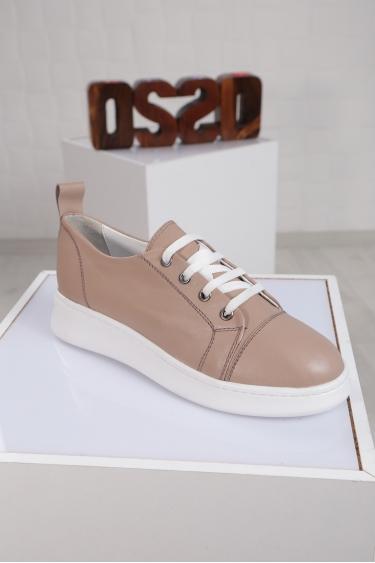 Hakiki Deri Bej Kadın Sneaker Ayakkabı 221204103