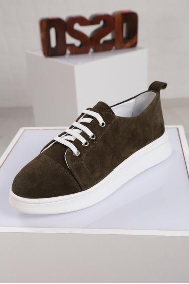 Hakiki Deri Haki Süet Kadın Sneaker Ayakkabı 221204103