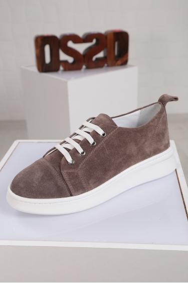 Hakiki Deri Vizon Süet Kadın Sneaker Ayakkabı 221204103
