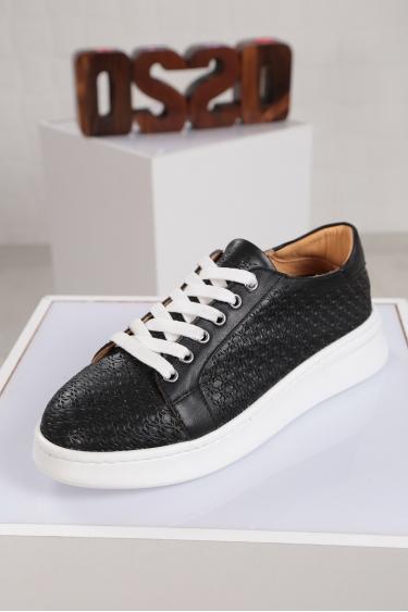Hakiki Deri Siyah Kadın Sneaker Ayakkabı 221204104