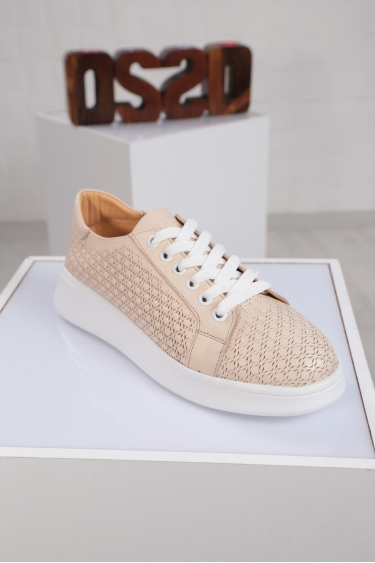 Hakiki Deri Krem Kadın Sneaker Ayakkabı 221204104