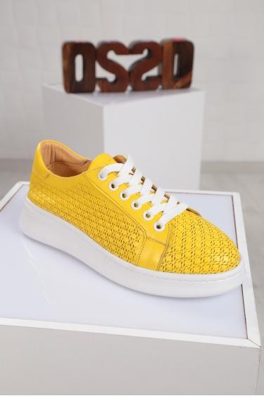 Hakiki Deri Sarı Kadın Sneaker Ayakkabı 221204104